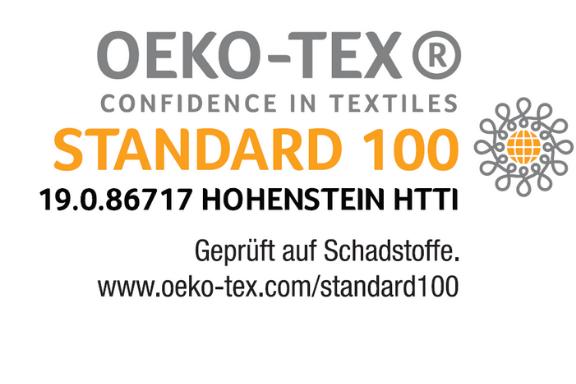 Nach Oeko-Tex Standard 100 auf Schadstoffe geprüft